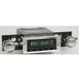 1973-1977 El Camino RetroSound Long Beach Radio Kit, Black Face Chrome Bezel
