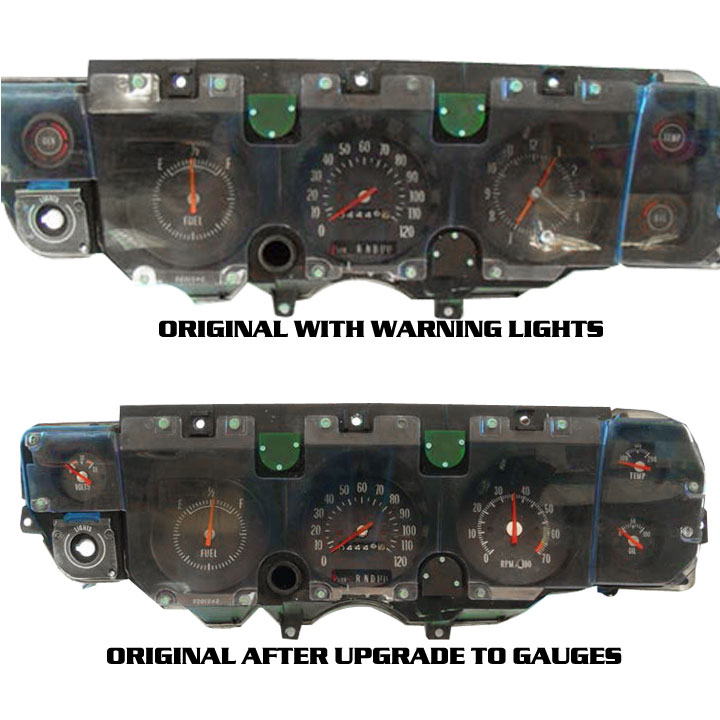 1970 chevrolet idiot light gauge conversion kit of the standard chevrolet dash with idiot lights to the optional gauges package the kit includes a new electric oil pressure gauge and sending unit publicscrutiny Gallery