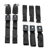 1966-1972 Chevelle OE Style Seat Belt Full Set With Shoulder Harness Black