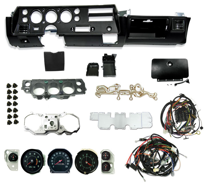 1970 chevelle deluxe ss dash conv  kit with 5500 rpm tach w/ chrome bezels  and ato style fuses