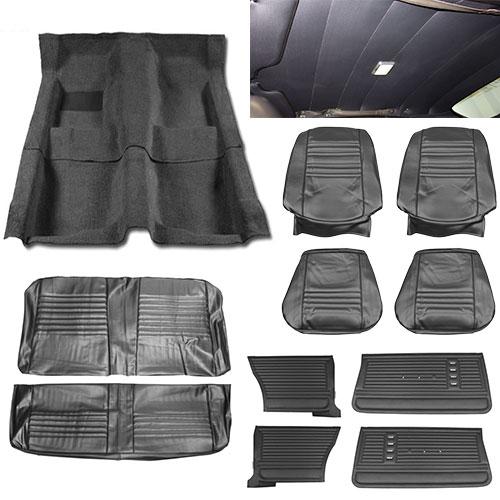 1967 Chevelle Coupe Super Interior Kit For Bucket Seats Black