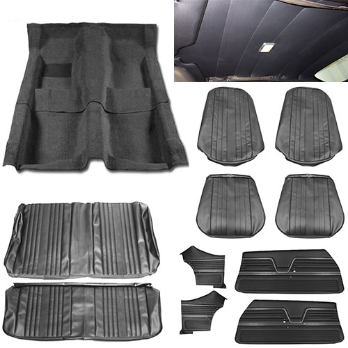 1969 Chevelle Coupe Super Interior Kit For Bucket Seats Black