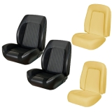 1967-68 Camaro Convertible TMI Sport R Seat Upholstery Kit, Black Buckets with Red Stitch