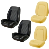 1969 Camaro Coupe TMI Sport R Seat Upholstery Kit, Black Buckets with Red Stitch: TMI-F69K