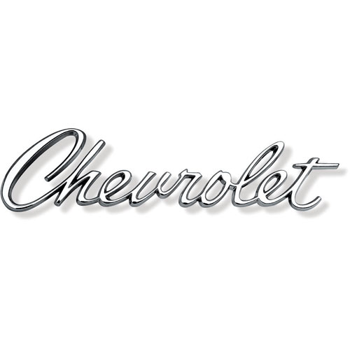 1967 chevrolet chevrolet script header panel    trunk emblem