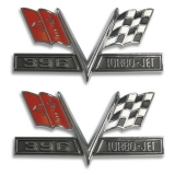 1965-1967 Chevrolet 396 Turbo Jet Flags Fender Emblems