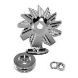 Chevy Chrome Alternator Fan and Pulley Combo, Single Groove