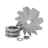 Chevy Chrome Alternator Fan and Pulley Combo, Double Groove