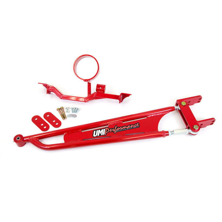 1993-2002 Camaro UMI Tunnel Brace Mounted Torque Arm with DS Loop, Long Tube Headers, Red: 2203-R