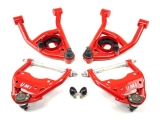 1964-1972 Chevelle UMI Front Control Arm Kit, 0.5 Inch Taller Upper Ball Joints, Delrin/Poly, Red