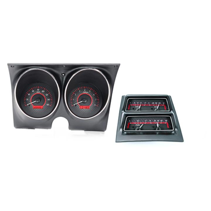 1968 Camaro Dakota Digital VHX Instrument System w/ Console Gauges, Carbon Fiber Faces, Red Numbers