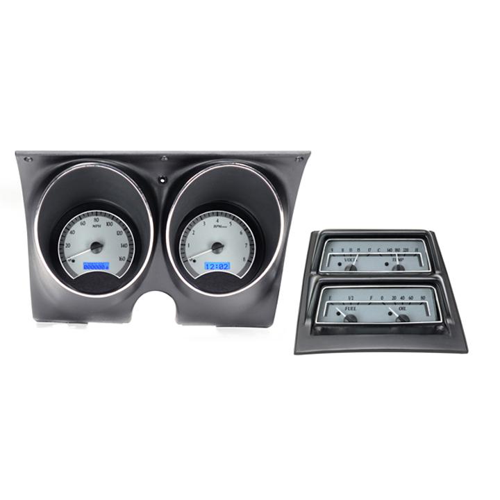 1968 Camaro Dakota Digital VHX Instrument System w/ Console Gauges, Silver Alloy Faces, Blue Numbers