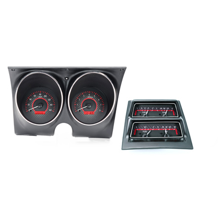 1968 Camaro Dakota Digital VHX Instrument System w/ Console Gauges, Silver Alloy Faces, Red Numbers