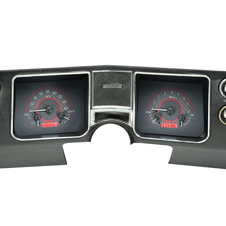 1968 El Camino Dakota Digital VHX Instrument System, Carbon Fiber Faces, Red Numbers