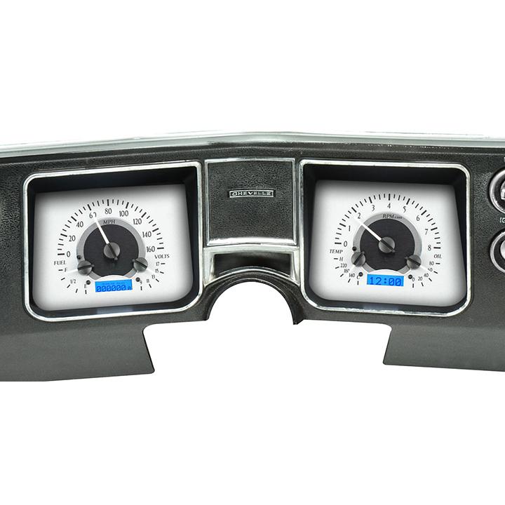 1968 El Camino Dakota Digital VHX Instrument System, Silver Alloy Faces, Blue Numbers