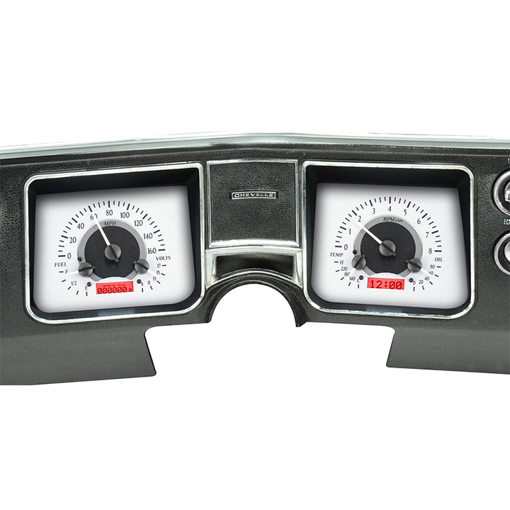 1968 Chevelle Dakota Digital VHX Instrument System, Silver Alloy Faces, Red Numbers