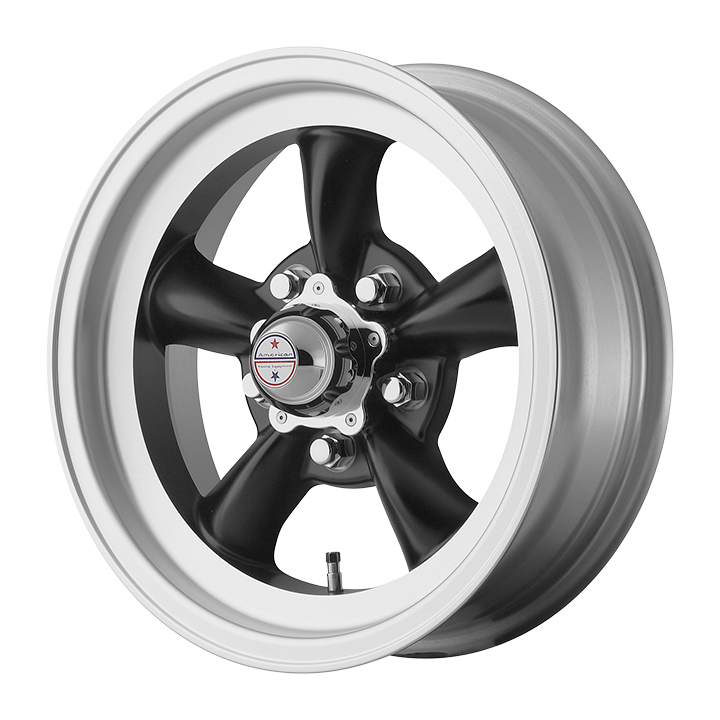 American Racing Torq Thrust D 1-Piece Wheel, 15x7 Satin Black with Machined Silver Lip: VN1055761B