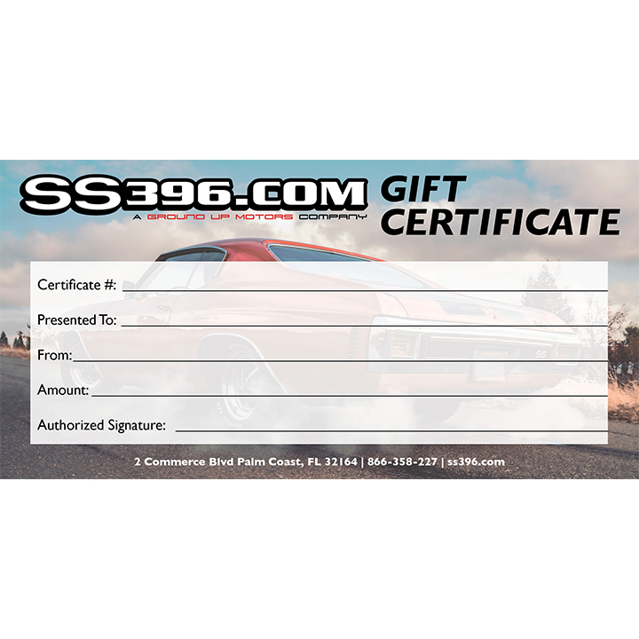 Ground Up SS396.com $50 Gift Certificate